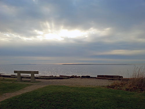 Sunburst through Clouds Crescent Beach Dec 2014 photo by Susan Turner